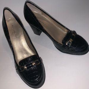 Bandolino Black Crocodile Patent Heel Loafers